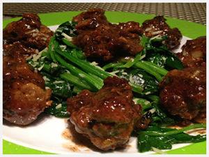 Turkey-Meatballs-with-Sautéed-Spinach