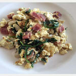 Scrambled-Eggs-with-Diced-Ham-and-Spinach